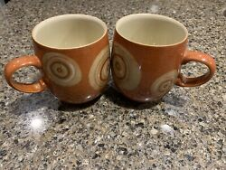 Set Of 2 Denby Fire Chilli Large Curve Mugs Cup Pottery Stoneware China