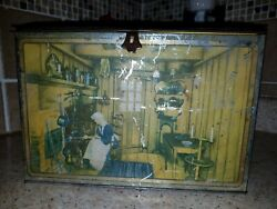Canco Large Vintage Hinged Box W/5 Diff. 19th Century Global Kitchen Scenes