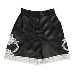 Nwt Alexander Mcqueen Black Leather Embroidered Shorts Pants Size 36/0 5575