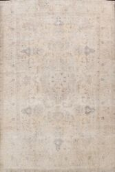 Vintage Muted Traditional Hand-knotted Area Rug Distressed Evenly Low Pile 10x13