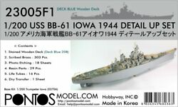 1/200 Pontos Uss Iowa Bb-61 1944 Detail Up Set With Blue Deck For Trumpeter
