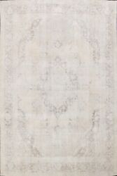 Muted Semi Antique Tebriz Hand-knotted Distressed Evenly Low Pile Area Rug 8x11