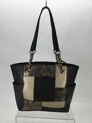 Calvin Klein Black Beige Pebbled Leather Magnetized Snap Closure Tote Bag Purse $12.00