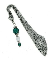 Beaded Bookmark Pewter with Swarovski Emerald Beads Read Reading Gift NEW