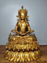 13 Old Tibet Bronze Gilt Sit Lotus Flower Amitayus Longevity God Goddess Statue