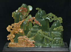 17 Chinese 100 Stone Jade Carving Mountain Pine Tree House The Ancients Statue