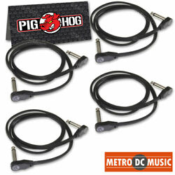 4-pack Pig Hog Low Profile Flat 36 Right-angle Patch Cable Cord Pedal 3 Ft New