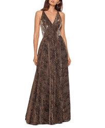Betsy And Adam Metallic Python-print Ball Gown Msrp 299 Size 10 8a 1568 Blm