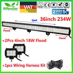 36inch 234w Led Work Light Bar +2pcs 4inch 18w+wire Harness Offroad Truck 4wd