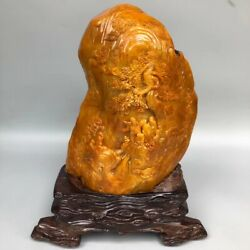 Collect Chinese Shoushan Stone Carving Pine Tree People Mountain Ornament Statue
