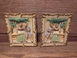 Vintage 1950's Victorian Plaques Trim Ceramic Wall Pictures - Beautiful