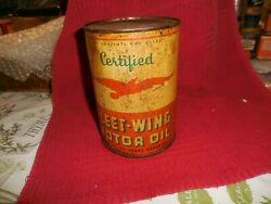 Vintage Certified Fleet-wing Motor Oil Quart Can 5 1/2 Full Can