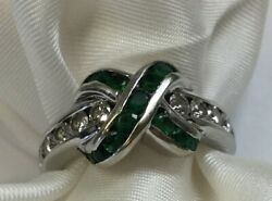 Vintage 18k Solid White Gold Diamonds And Emeralds Ring By Krypell