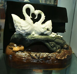 14 China Natural Jade Stone Carving Feng Shui Animal Swan Duck Ornament Statue