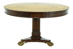 Lf32009ec Regency Style Large Round Leather Top Walnut Center Table