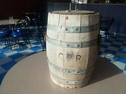 Antique 1800's Cpr Canadian Pacific Railway Railroad Wood Water Barrel W/ Lid