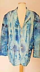 Linen Rayon Summer Suit Coat Blazer White Navy Blue Beige Tie Dyed Dolce 44 Gray