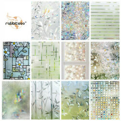 Rabbitgoo Home Window Film Privacy Static Cling Stained Glass Film 17.5x78.7