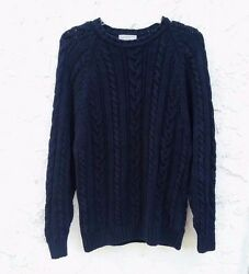 Menand039s Vintage 80and039s Granby Club Navy Blue Chunky Knit Sweater Size Extra Large