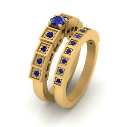 Sapphire Engagement Ring Set Solid Yellow Gold Wedding Rings For Womens Jewelry
