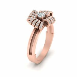 Rose Gold Bow Engagement Ring Diamond Promise Ring Gift For Her Wedding Jewelry