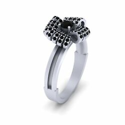 0.45cttw Black Diamond Bow Engagement Ring Silver Bow Ring Women Wedding Jewelry