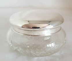Antique Chinese Export Cut Glass / Silver Dressing Table Vanity Jar. By Nanking