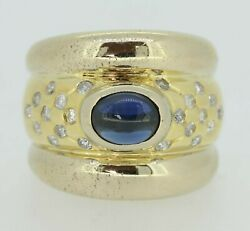 Gold Diamond Ring - 18ct Yellow Gold Sapphire And Diamond Ring Size N