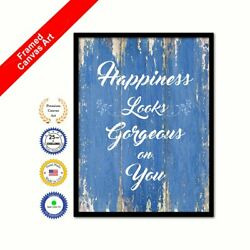 Happiness Looks Gorgeous On You Blue Quote Framed Canvas Office Wall Art Gift