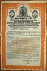 Germany Rheinelbe Union Gold Bond 1926 +coupons Scripotrust Certified
