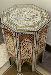 Antique Moroccan Side Table End Table Wood Inlaid Mother Of Pearl 16.6x16.6