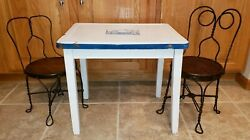 Antique Child Enamel Top Table And His And Hers Ice Cream Parlor 2 Chairsadorable