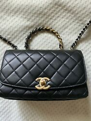 Authentic Chanel Small Flap Bag With Top Handle Black Leather SilverGold NEW $3,799.00