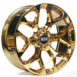 24 Str Wheels 701 Candy Gold Snowflake Replica Rims Fit 4runner S2
