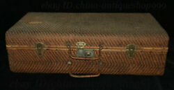 25 Chinese Wood Bamboo Portable Chest Treasure Valuables Ancient Books Bin Box