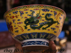 6 Chinese Qing Dynasty Yellow Glaze Porcelain Red Dragon Bowl Cup Plate Teacup