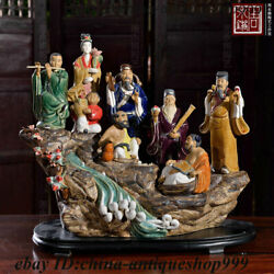 Chinese Color Porcelain Eight Immortals Pahsien Eight Celestial Being God Statue