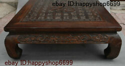 Old China Huali Wood Carved Blessing Ancient Writing Tea Table Tea-things Statue
