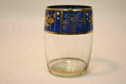 Glass Decorative Cup With Gold Framed Floral Designs And Gold Trim Collectible
