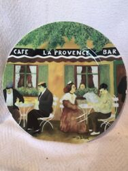 Guy Buffet Collection Art French Scene Cafe La Provence 11in Porcelain Plate