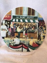 Guy Buffet Collection Art French Scene Le St. Tropez 11 Porcelain Dinner Plate
