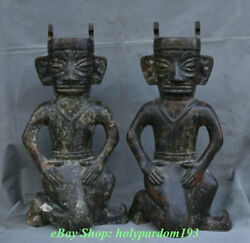 21 Old Chinese Bronze Ware Silver Dynasty Sanxingdui People Statue Pair
