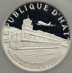 1971 Haiti Duvalier Airport Old French Silver Proof 25 Gourdes Ngc Coin I84652