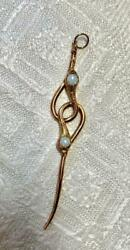 Victorian Opal Snake Pendant Necklace 3 Inches Long Antique Gold 1800s Rare