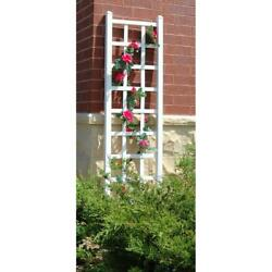 Trellis 75 In. X 22 In. Resin Vinyl Pvc White With 16 In. Metal Ground Anchors