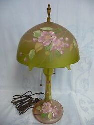 Amazing Vintage French Satin Glass Enameled Lamp Socket And Finial Not Original