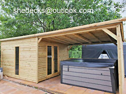 Summer House With Hot Tube Shelter Gazebo Shed Pent Man Cave Heavy Duty Tandg