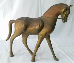 Decor Home With Vintage Collectible Brass Metal Horse With Enamel Color
