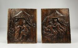 A Pair Of 16th Century Erotic Carved Oak Panels.