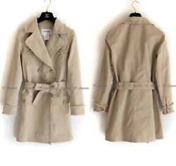 10s 2010 Fringed Beige Trench Double Breasted Short Coat Fr38
